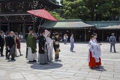 HARAJUKU, TÓQUIO - EM JULHO DE 2015: A celebração de um casamento típico cere foto de stock royalty free