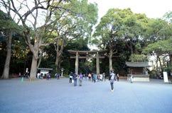 HARAJUKU, TOKYO - 20. NOVEMBER: Leute, die Meiji Jingu Shrine besuchen Stockfotografie
