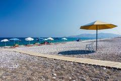 Haraki海滩罗得岛 库存图片