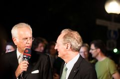 Harald Schmidt interviewe Wolfgang Schuster Photo libre de droits