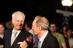 Harald Schmidt se entrevista con a Wolfgang Schuster Fotografía de archivo libre de regalías
