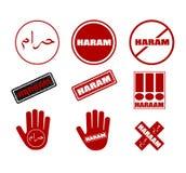 Haram商标和邮票 隔绝在白色例证 向量 Haram从阿拉伯被翻译到英语作为不许可或forbi 库存例证