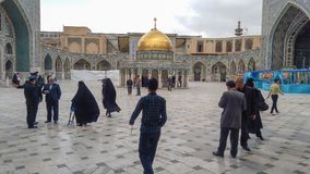 Haram complex and the Imam Reza Shrine. Mashhad, Iran, may 13, 2018: Haram complex and the Imam Reza Shrine, the largest mosque in the world by dimension in the Royalty Free Stock Photos