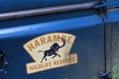 Harambe野生生物储备标志动物界 免版税库存照片