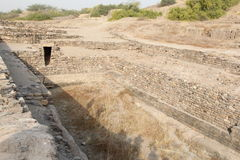 Harappa Civilization. Water harvesting system and water collection inlet of the tank at ancient Harappa civilization city Dholavira Stock Images