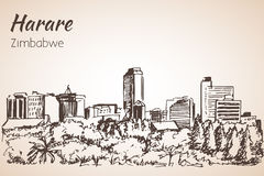 Harare cityscape sketch. Stock Photography