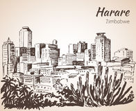Harare cityscape sketch. Royalty Free Stock Photo