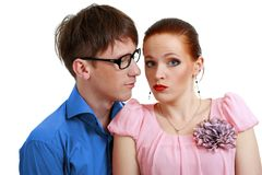 Harassment. Businessman harassment at his coworker woman Stock Photo