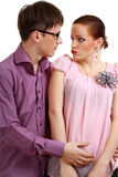Harassment. Businessman harassment at his coworker woman Royalty Free Stock Images