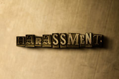 HARASSMENT - close-up of grungy vintage typeset word on metal backdrop Royalty Free Stock Photos