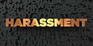 Harassment - Gold text on black background - 3D rendered royalty free stock picture Stock Image