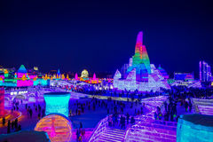 Harbin, China - 9 de fevereiro de 2017: Gelo internacional bonito e colorido de Harbin e festival da escultura de neve guardado Foto de Stock Royalty Free