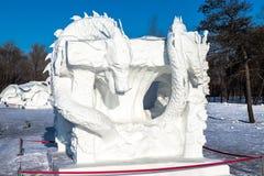 Harbin, China - enero de 2015: Escultura de nieve internacional Art Expo Imagen de archivo libre de regalías