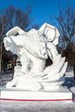 Harbin, China - enero de 2015: Escultura de nieve internacional Art Expo Foto de archivo