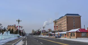 Street at winter in Harbin, China stock image