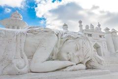 Harbin, China - febrero de 2013: Escultura de nieve internacional Art Expo Fotos de archivo libres de regalías