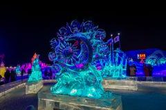 Harbin, China - 9. Februar 2017: Großartige Eisskulpturen in internationalem Eis Harbins und im Schnee-Skulptur-Festival Lizenzfreies Stockfoto