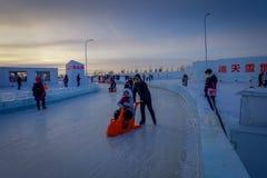 Harbin, China - 9. Februar 2017: Internationales Eis Harbins und Schnee-Skulptur-Festival ist ein jährliches Winterfestival das Lizenzfreies Stockbild