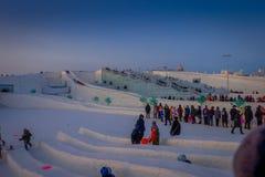 Harbin, China - 9. Februar 2017: Internationales Eis Harbins und Schnee-Skulptur-Festival ist ein jährliches Winterfestival das Lizenzfreie Stockfotos