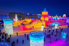 Harbin, China - 9. Februar 2017: Schönes und buntes internationales Eis Harbins und Schnee-Skulptur-Festival gehalten Stockbilder
