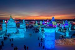 Harbin, China - Februari 9, 2017: Het Ijs en de Sneeuwbeeldhouwwerkfestival van Harbin is het Internationale een jaarlijks de win stock afbeelding