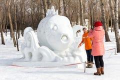 Harbin, China - February 2013: International Snow Sculpture Art Expo. Harbin, China - February 2013: Snow sculptures in the 25th China Harbin Sun Island Stock Photography