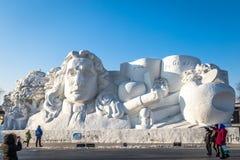 Harbin, China - Januari 2015: Internationaal Sneeuwbeeldhouwwerk Art Expo royalty-vrije stock afbeeldingen