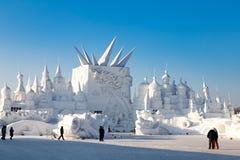 Harbin, China - January 2015: International Snow Sculpture Art Expo. Harbin, China - January 2015: Gigantic Snow buildings in the 27th China Harbin Sun Island Royalty Free Stock Photography