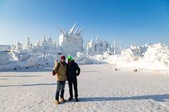 Harbin, China - January 2015: International Snow Sculpture Art Expo Royalty Free Stock Photo