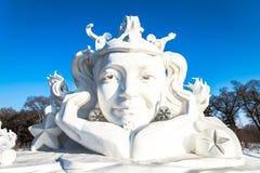 Harbin, China - January 2015: International Snow Sculpture Art Expo. Harbin, China - January 2015: Snow sculpture of a girl in the 27th China Harbin Sun Island Stock Photography