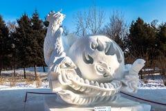 Harbin, China - January 2015: International Snow Sculpture Art Expo. Harbin, China - January 2015: Snow sculptures in the 27th China Harbin Sun Island Royalty Free Stock Photography