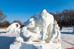 Harbin, China - January 2015: International Snow Sculpture Art Expo Royalty Free Stock Images