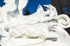 Harbin, China - January 2015: International Snow Sculpture Art Expo. Harbin, China - January 2015: Snow sculpture of wolves in the 27th China Harbin Sun Island Royalty Free Stock Images