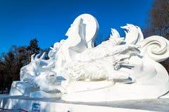 Harbin, China - January 2015: International Snow Sculpture Art Expo. Harbin, China - January 2015: Snow sculpture of wolves in the 27th China Harbin Sun Island Stock Photography