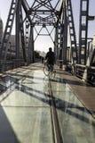 Historic railway bridge, converted to walkway, harbin china day blue sky cyclist. Harbin China,the original historic railway bridge across the songhua river is royalty free stock image