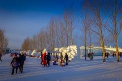 Harbin, Chine - 9 février 2017 : Belles sculptures sur neige dans la glace de Harbin et le festival internationaux de sculpture s Image stock
