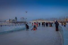 Harbin, Chine - 9 février 2017 : La glace internationale de Harbin et le festival de sculpture sur neige est un festival annuel d Photographie stock libre de droits