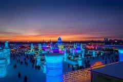 Harbin, Chine - 9 février 2017 : La glace internationale de Harbin et le festival de sculpture sur neige est un festival annuel d Photos libres de droits