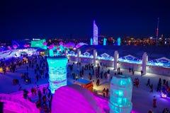 Harbin, Chine - 9 février 2017 : La glace internationale de Harbin et le festival de sculpture sur neige est un festival annuel d Image stock