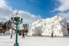 Harbin, Chine - février 2013 : Sculpture sur neige internationale Art Expo Photos stock