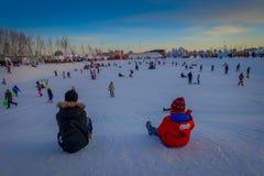 Harbin, Chine - 9 février 2017 : Visiteurs inconnus ayant l'amusement dans la glace et la sculpture sur neige internationales de  Image stock