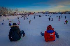 Harbin, Chine - 9 février 2017 : Visiteurs inconnus ayant l'amusement dans la glace et la sculpture sur neige internationales de  Photos libres de droits