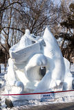 Harbin, Cina - gennaio 2015: Scultura di neve internazionale Art Expo Immagine Stock Libera da Diritti