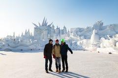 Harbin, Cina - gennaio 2015: Scultura di neve internazionale Art Expo Fotografia Stock Libera da Diritti
