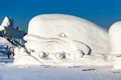 Harbin, Cina - gennaio 2015: Scultura di neve internazionale Art Expo Fotografie Stock Libere da Diritti