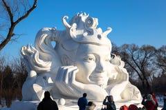 Harbin, Cina - gennaio 2015: Scultura di neve internazionale Art Expo Fotografia Stock