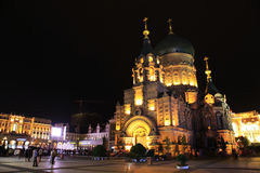 Harbin cityscape. St. sofia church and square in the evening.The landmark of Harbin city. Heilongjiang. China royalty free stock photo
