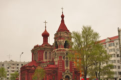 Harbin Eastern Orthodox Church. Eastern orthodox s. alexeecsky church in Harbin China located in Heilongjiang province on a cloudy overcast day Royalty Free Stock Image
