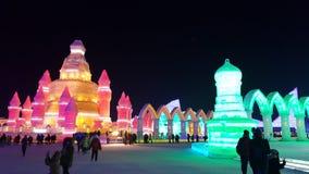 Harbin-Eis-Festivalskulptur Stockfotos