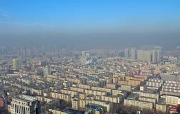 Harbin i smog, Kina Fotografering för Bildbyråer